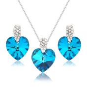 PRETTY OCEAN BLUE HEART NECKLACE AND EARRING SET WITH WHITE. ELEMENTS CRYSTALS - GIFT PRESENT FOR HER - GIFT BOXED