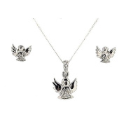 TOC Sterling Silver Crystal Guardian Angel Pendant and Earring Set, on 46cm Chain