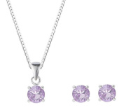 Silver June Birthstone Crystal Earring & Pendant Set With. ELEMENTS