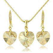 Light Champagne Gold Heart Necklace Pendant Earring Set. Element 18k Gold Tone Crystal Gift