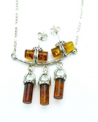 Jewellery Of The Planet Sterling Silver And Amber Necklace And Earring Set
