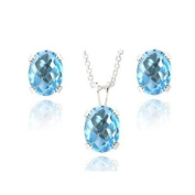Sterling Silver 4.5ct Swiss Blue Topaz Oval Solitaire Necklace & Stud Earrings Set