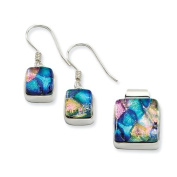 Sterling Silver Pink and Blue Dichroic Glass Square Earrings and Pendant Set - JewelryWeb