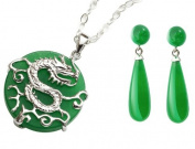 """Jade Dragon Pendant & Jade Drop Earrings. Circular jade pendant with a sterling silver dragon design on the front and threadwork on the back. Pendant measures approx. 2cm and hangs from an 18"""" sterling silver chain"""