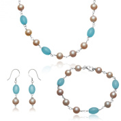 Lustrous - Pink Pearls and Turquoise Agate Pearl Jewellery Set