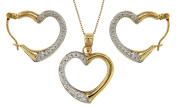 """9ct 2 Colour Gold Open Heart Earrings and Pendant on Trace Chain Necklace Set 46cm/18"""""""
