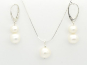 STERLING SILVER & FRESHWATER PEARLS EARRINGS + NECKLACE SET