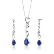 Revoni Sterling Silver Pear Shape Sapphire Pendant Earrings and 46 CM Length Silver Necklace Set
