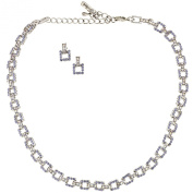 Gemini London Jewellery, Crystal Square Link Necklace and Earrings Encrusted with over 250 Tanzanite AB and Tanzanite. Crystals. Rhodium Plated on Nickel Free Metal, Silver Finish