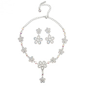 Gemini London Jewellery's Summer flowers Necklace and Earrings made with AB. Crystals, Rhodium Plated, Silver Effect Finish
