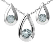 9ct White Gold 0.60ct Blue Topaz Teardrop Earrings and Pendant Set