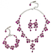 Gemini London Jewellery's Chandelier Drop Necklace, Earrings and Bracelet made with Fuchsia and Fuchsia AB. Crystals, Nickel Free, Silver Antique Finish with Rhodium Plating
