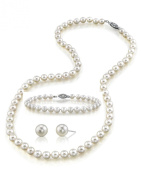"""7-8mm White Freshwater Pearl Necklace, Bracelet & Earrings Set, 18"""" Princess Length - AAA Quality"""