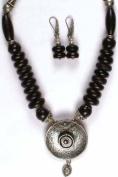 Black Onyx Necklace & Earrings Set - Sterling Silver