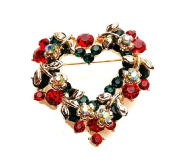 Amazing Colourful Christmas Heart Wreath Brooch Full of Rhinestones Pin Gift BR142