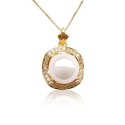 Blue Pearls - 14mm cultured Pearl and Cz Stone yellow Gold Pendant BPS 1033 O Blanc