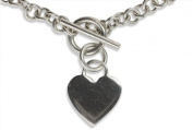 SILBERMOOS Jewellery Women´s Necklace Chain with Heart Pendant Italian Design with T-Bar-Fastening Polished 925 Sterling Silver