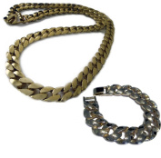 Mens XL Gold Plated Miami Cuban Link HipHop Bling Chain & Bracelet Combo