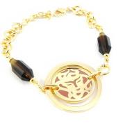 "Gold plated bracelet ""Calypso""golden brown."