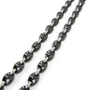 "Necklace 'french touch' ""Mutante"" steel grey ceramic."
