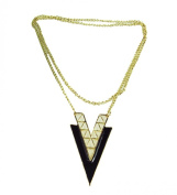 Zehui Occident Style Retro Fashion V Shape Alloy Long Chain Charms Triangle Necklace Black