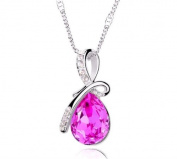 Silver Plated Gemstone Fuchsia Purple Teardrop Necklace