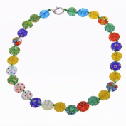 Millefiori Glass Lampwork Coin Beads Necklace HOT.