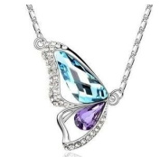 18ct White Gold Plated Butterfly Design Necklace with. Elements Crystals Aquamarine and Tanzanite (Gift Pouch Included) Elegant Crystal Jewellery