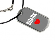 Shark Love - Military Dog Tag Black Cord Necklace