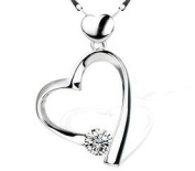 Rhodium Plated 925 Sterling Silver Open Heart Clear Crystal cubic zirconia Pendant Necklace Fashion Fine Jewellery Length Cz 46cm (Gift Pouch Included) Fine Fashion Jewellery