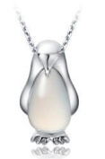 925 Sterling Silver Little Penguin with Cat's Eye Stone Pendant Necklace Fashion Fine Jewellery (Gift Pouch Included) Fine Fashion Jewellery
