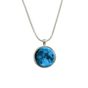 Blue Moon Pendant with Sterling Silver Plated Chain