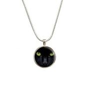 Black Cat Eyes - Halloween Pendant with Sterling Silver Plated Chain