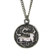 Pewter Gripping Beast Chimaera Viking Amulet Pendant Necklace