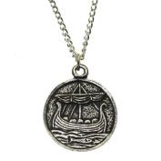Pewter Roving Longboat Viking Norse Amulet Pendant Necklace