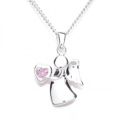 Silver Guardian Angel Birthstone Pendant with 36 cm + extender 5 cm Chain October