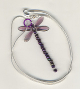Beaded Dragonfly Sterling Silver Necklace - Amethyst