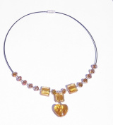 Gold Glass Heart Pendant On A Gold Glass & Crystal Beaded With White Seed Bead Detail Black Wire Necklace
