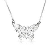 Bling Jewellery Filigree Butterfly Pendant Necklace Sterling Silver 41cm