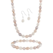 Sterling Silver Freshwater Cultured Multi-Colour Pearl Necklace, Bracelet Earring Jewellery Set