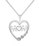 "Silver Cubic Zirconia ""MUM"" Heart Pendant/Curb Chain 46cm"