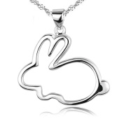 findout Fashion simple small white rabbit sterling Silver Necklace