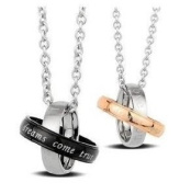 """New Stainless Steel """"Dreams Come True"""" Couples Pendant Necklaces Set 50cm 45cm Chains With Gift Box"""