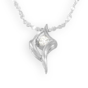 Sterling Silver Cubic Zirconia Irregular Shape Fancy Pendant / Necklace with 16' Silver Twisted Serpentine Chain