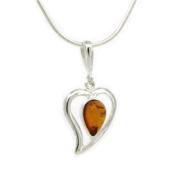 Nova Silver Heart Pendant Set with Cognac Amber 46cm Silver Snake Chain