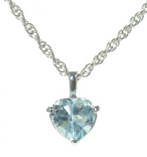 Beautiful 925 Sterling Silver Ladies Heart Pendant + Chain with Blue Topaz - 11mm*7mm