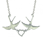 Silver swallow and heart necklet