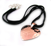 """Long Solid Hammered Copper Heart Pendant Charm and Black Suede Cord Necklace Jewellery Gift 47cm to 51cm / 18.5"""" to 20"""""""