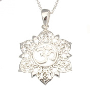 Sterling Silver Om in Mandala pendant with 2.3cm Sterling Silver Chain
