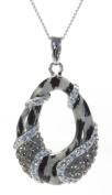 925 Sterling Silver Ladies Pendant + Chain with Crystal - 29mm*17mm